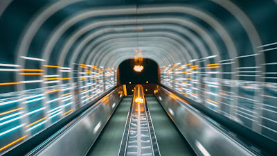 Photo, tunnel, deformation, neon