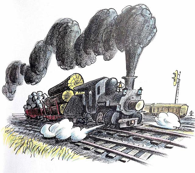 a Bill Peet children's book illustration of a hard working freight train