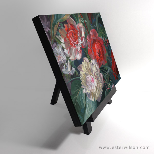 Side view of Dutch Garden Oil painting on panel, 12 x 9 inches, with 3/4 inch sides that are painted black