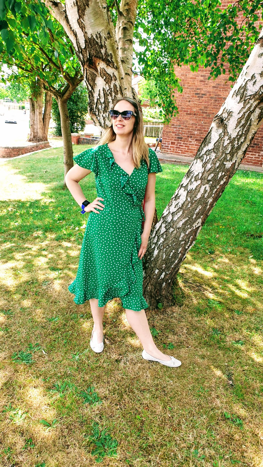 Green Polka Dot Wrap Around Dress: Over 40 Style