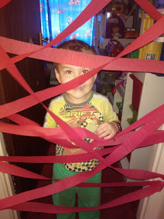 Big Boy at the Crepe Paper Birthday Door