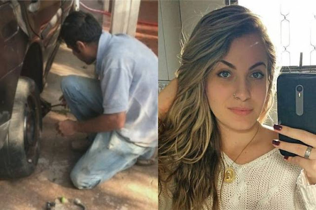 O acusado Rodrigo Pereira trocando o pneu do carro de Mariana BazzaReprodução/Veja SP