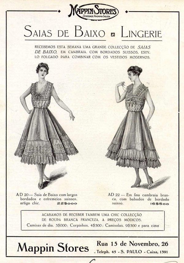 Propaganda antiga do Mappin promovendo a linha de saias de baixo e lingerie em 1917