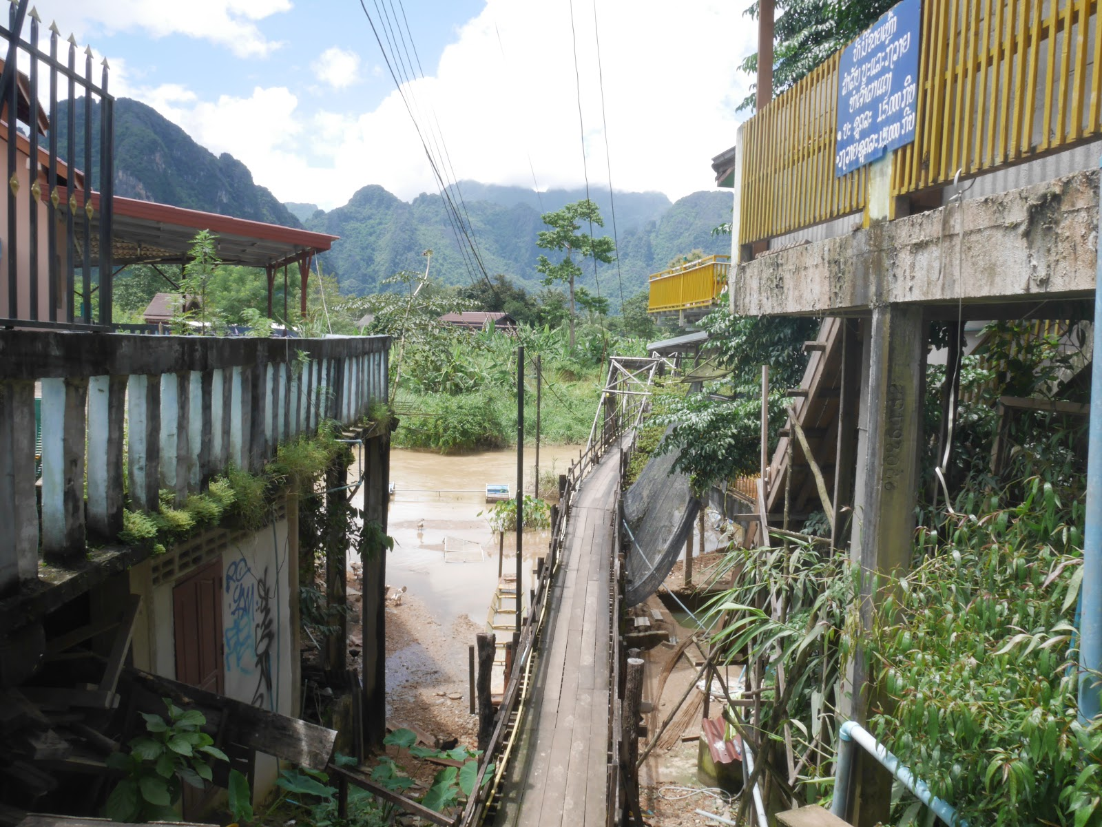 a bridge in Vang Vieng