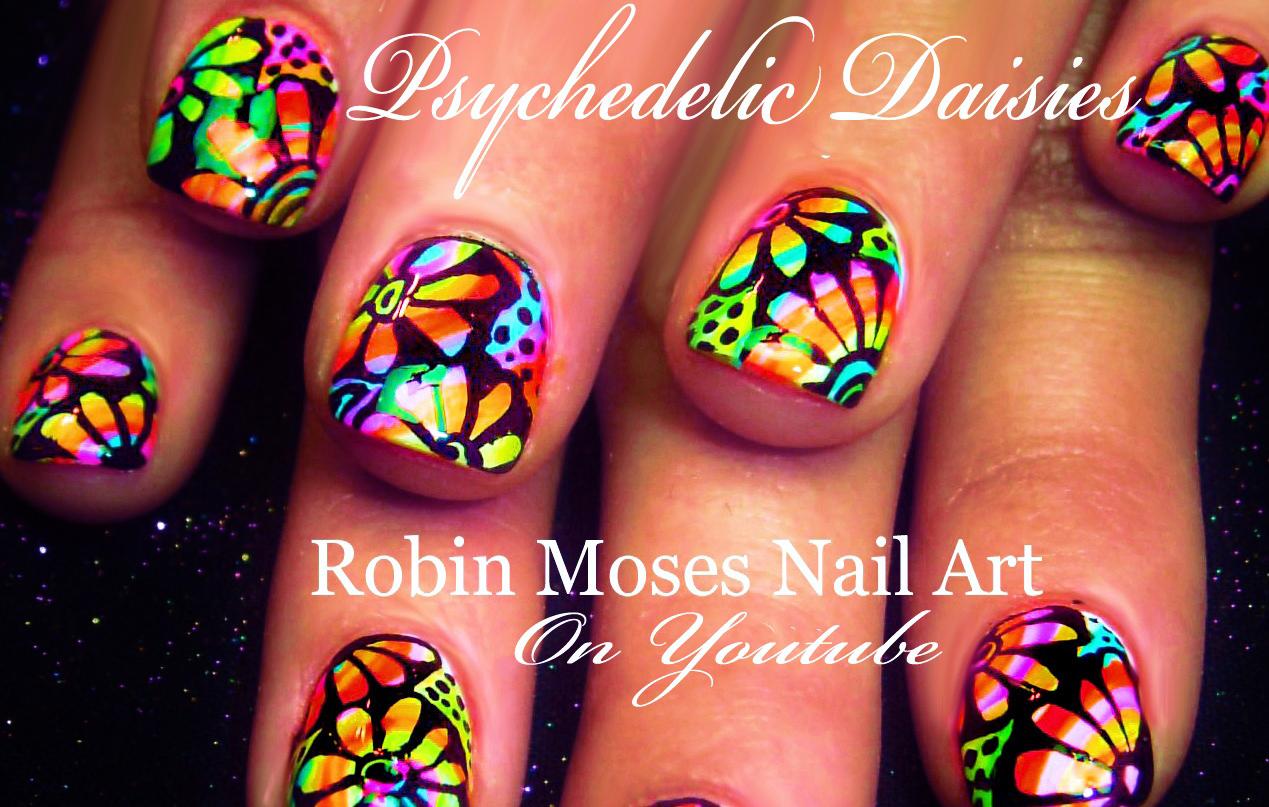 Robin Moses Nail Art Diy Hand Painted Neon Flower Nail Art Design Tutorial