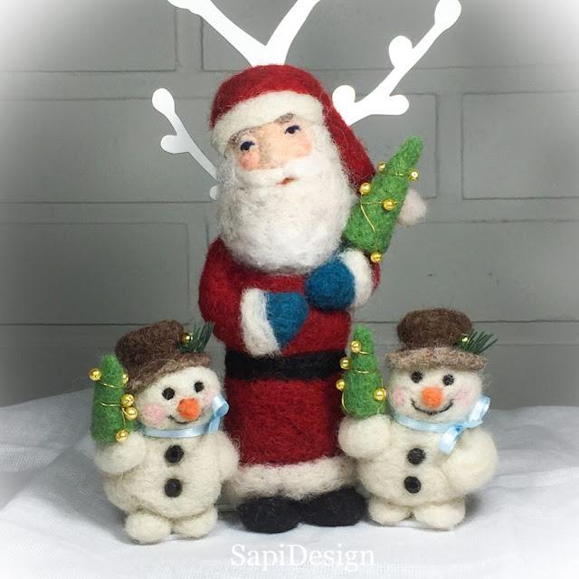 lumiukko joulupukki neulahuovutus figuuri joulu