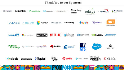 Slide of the 41 sponsors that are financially supporting PyCon 2020 Online