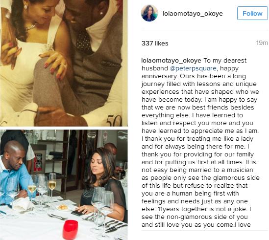 """11 years together, 3rd wedding anniversary"" – Peter Okoye & Lola Omotayo celebrate their love"