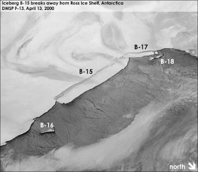 Desprendimiento iceberg gigante B-15, Antártida