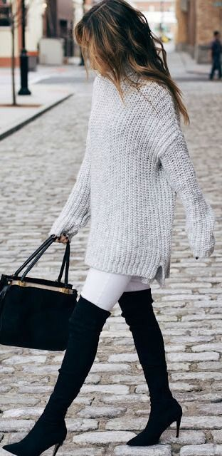 stylish look | bag + over the knee boots + white skinnies + sweater