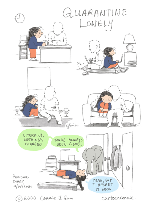 comics, cartoon, pandemic, quarantine, humor, sketchbook, drawing, illustration, connie sun, cartoonconnie