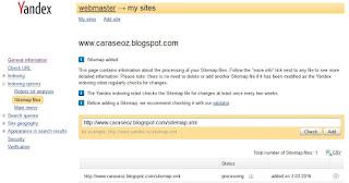 Cara Submit Sitemap xml di Yandex