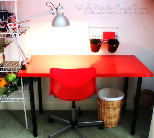 From Ikea Vika Amon Table Top In High Gloss Red Adils Legs Black Snille Swivel Chair Alrik Blue Bygel Wire Hanging Basket