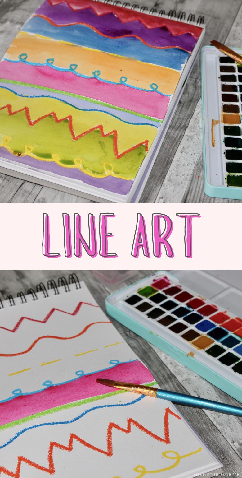 Line art for kids. Easy art project for kids on the element of art line.