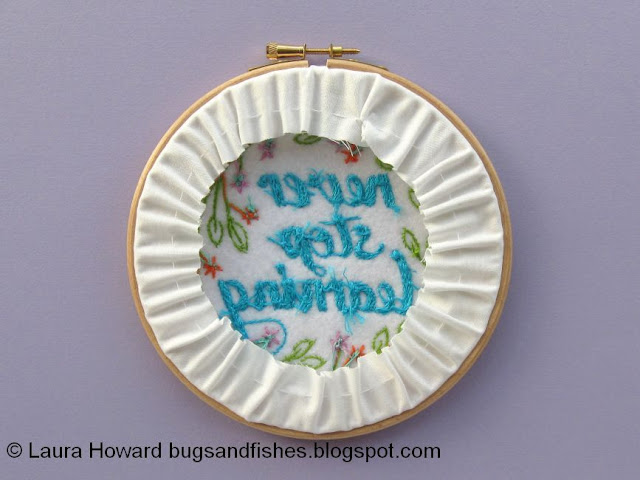 Neat embroidery hoop back