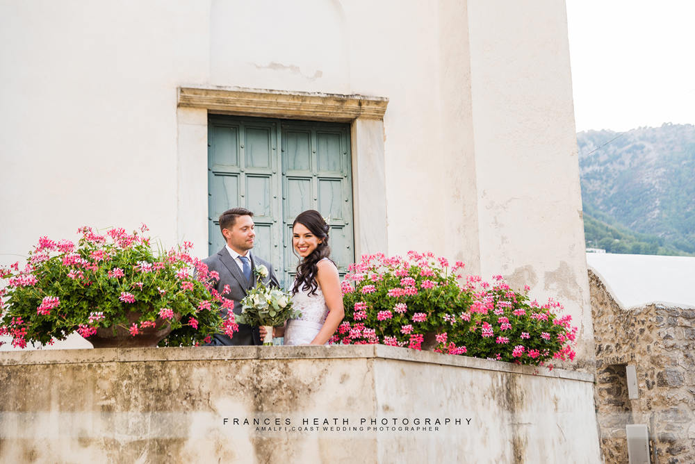 Bride and groom in Ravello