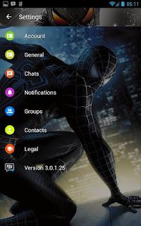 BBM Whatsapp Mod Tema Spiderman Black V3.0.1.25 Apk1