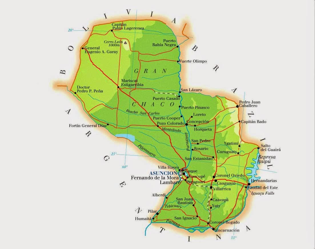 Paraguai | Mapas Geográficos do Paraguai