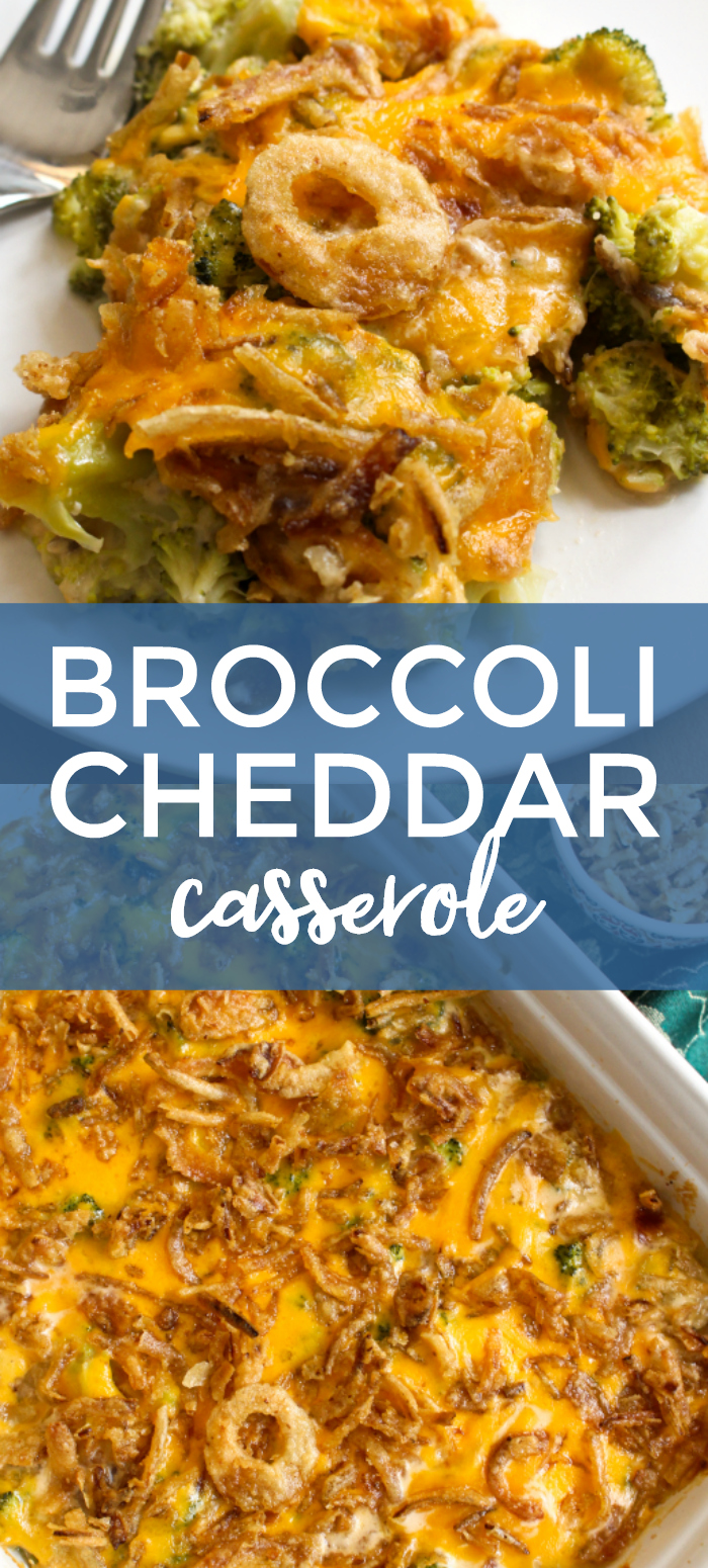 This Broccoli Cheddar Casserole is made with tender broccoli, a creamy cheddar cheese sauce, and french fried onions. It will be the hit of your next holiday dinner! #sidedishrecipes #broccoli #broccolicasserole