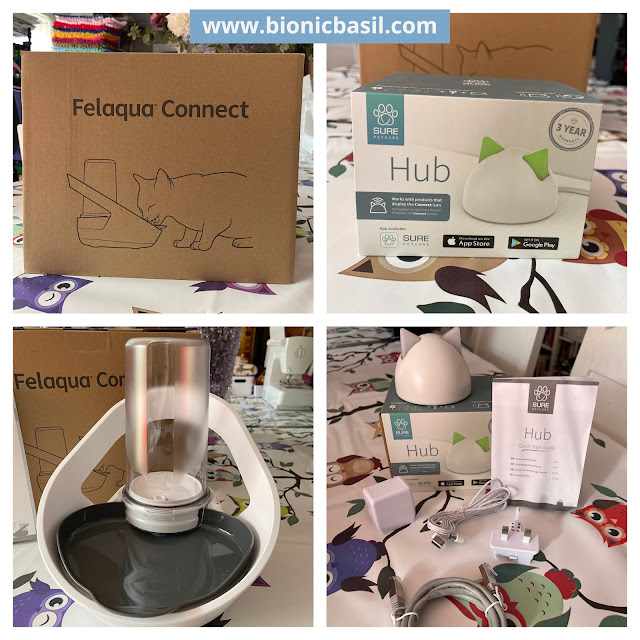 What's In The Box ©BionicBasil® The Sure Petcare Felaqua Connect Pet Fountain