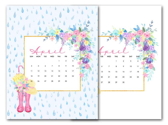 Free April Calendar Printables