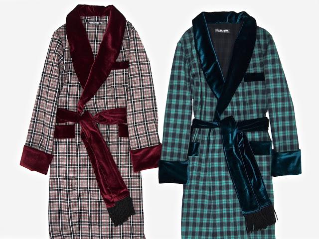 Mens english vintage dressing gown luxury morning robe gents smoking jacket