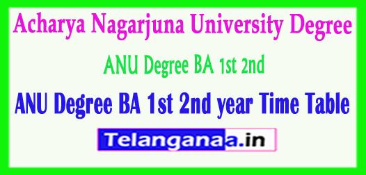 ANU Degree Acharya Nagarjuna University BA 1st 2nd Year Time Table 2018