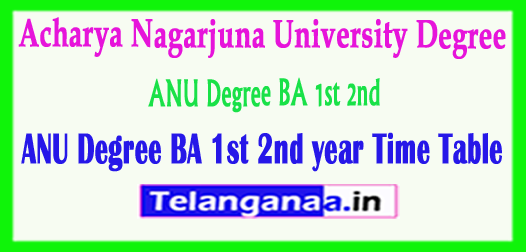 ANU Degree Acharya Nagarjuna University BA 1st 2nd Year Time Table