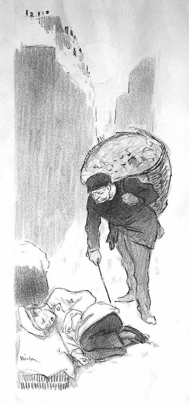 Theophile Steinlen, an old worker discovers a homeless boy sleeping on the docks
