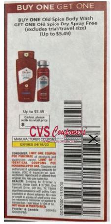 FREE Old Spice Dry Spray wyb Body Wash Max Value $5.49 RMN 4-5 (exp. 4/18)