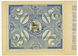Crédito y Ahorro Ponceño rear side of the specimen bond showing lion on bridge