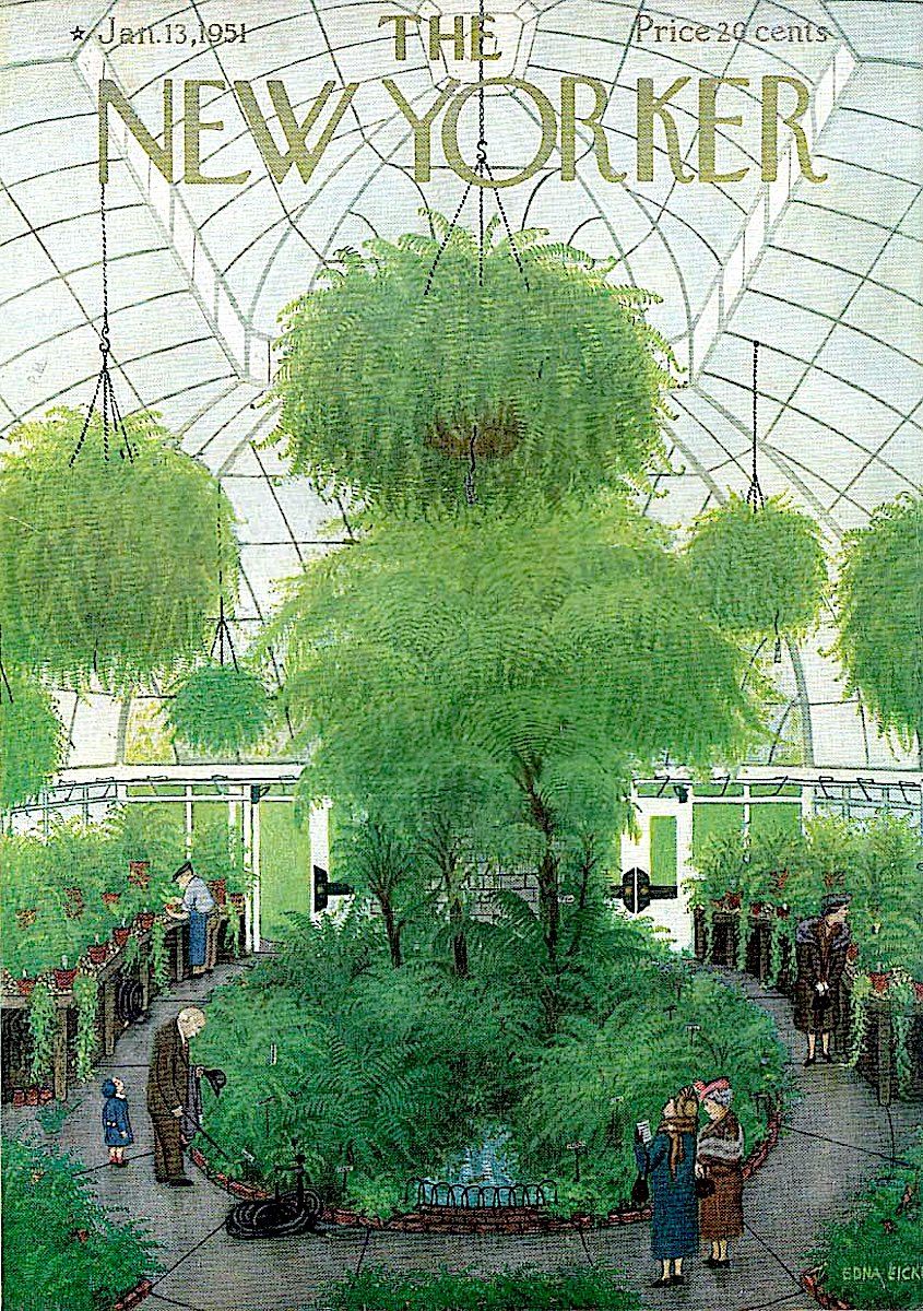 an Edna Eicke illustration for The New Yorker Magazine January 13 1951, in a public greenhouse