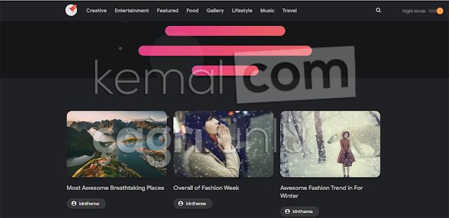 Blogger'da gece modu aktif olan bir web sitesi.