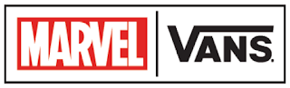 Two wide white rectangles next to each other with a thin red border, with one saying marvel in bold white font with a red outline, with Vans in a bold black font on a white background.