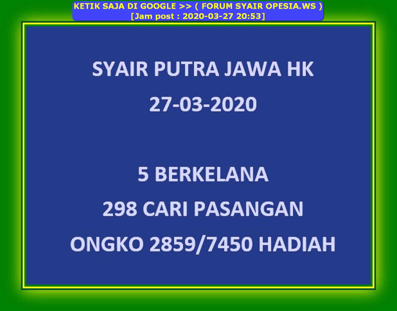Kode syair Hongkong Jumat 27 Maret 2020 15