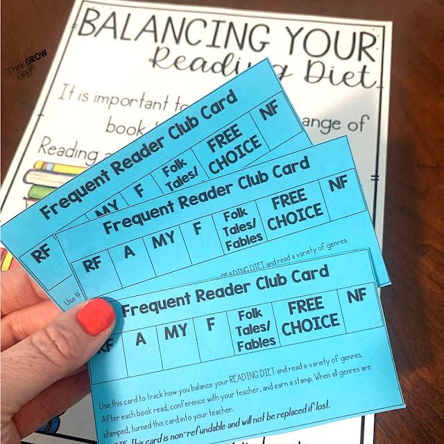 balanced diet book club card genre lesson