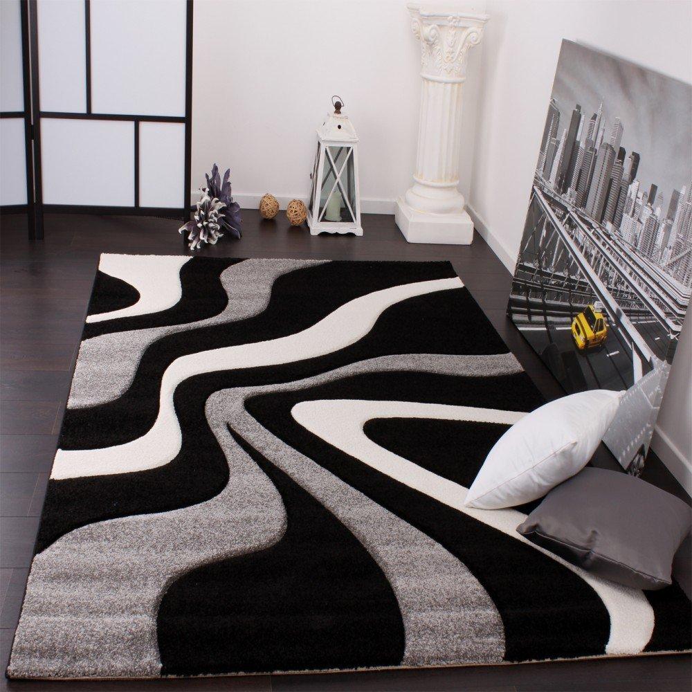 Tapis salon couleur noir et blanc pas cher