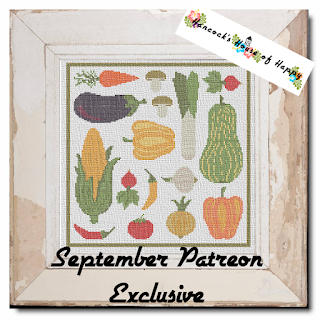Big Beautiful Harvest Vegetable Cross Stitch Pattern