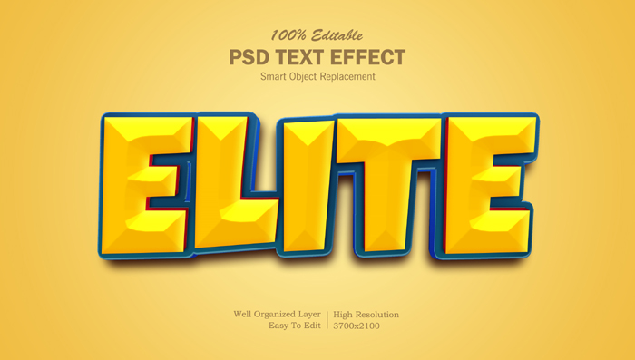 Elite Movie Style 3D Text Effect Psd Template