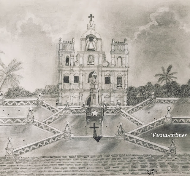 Pencil Drawing- Our Lady of the Immaculate Conception Church, Goa, India