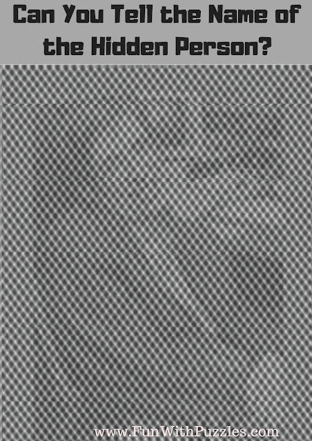 In this Shake Your Head Picture Puzzle, your challenge is to tell the name of this hidden person.