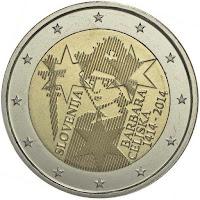 slovenia 2 euroa kolikko barbara celjska 2014