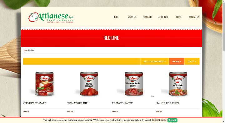 Picture to Italian food exporter company named Attianese Spa
