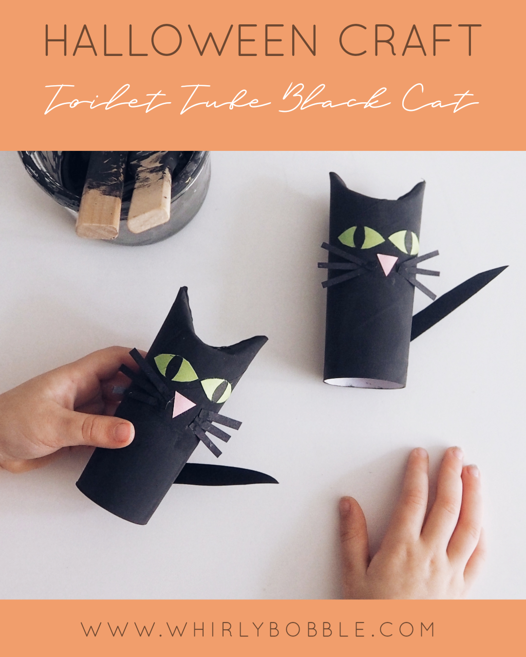 Kids Halloween Craft - Toilet Tube Black Cat