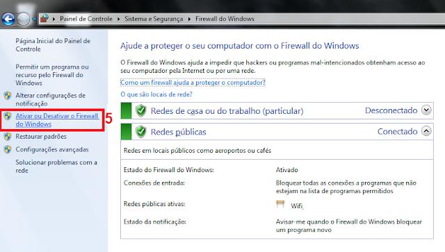 5 - Agora no painel do lado esquerdo vá até Ativar ou Desativar o Firewall do Windows.