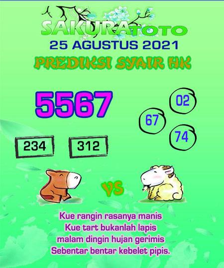 Syair HK Rabu 25 Agustus 2021 -