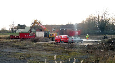 Demolishing buildings in Brigg on part of the site earmarked for a new Aldi store - February 2019
