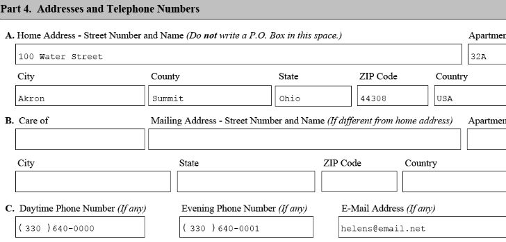 address and tel no for uscis form n400