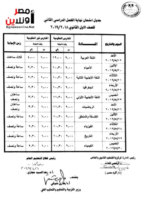 جداول امتحانات المرحلة الابتدائية والاعدادية والثانوية بمحافظة الجيزة الفصل الدراسى الثانى 2018-2019