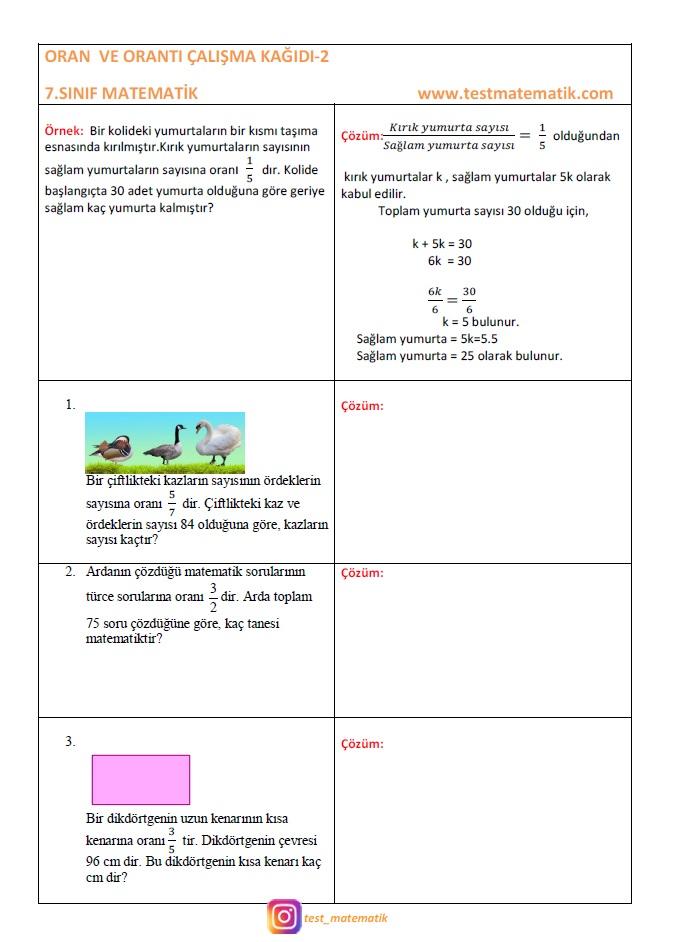 7 Sinif Oran Calisma Kagidi 2 Test Matematik